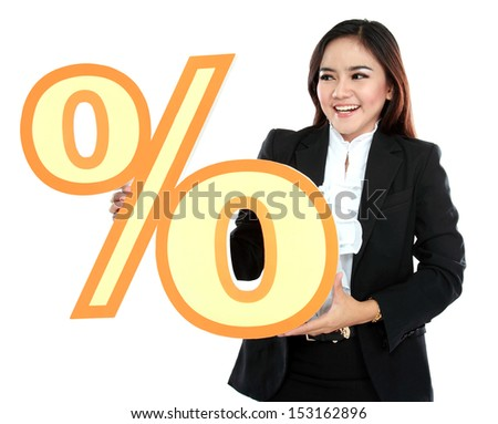 Picture of happy businesswoman holding sign of percent isolated on white background