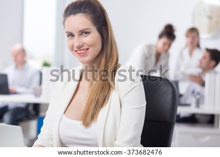 Picture of happy maternity and work in corporation