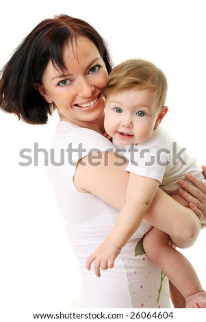 Picture of happy mother with baby over white - stock photo