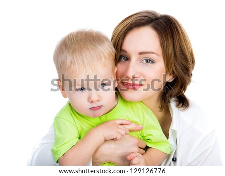 picture of happy mother with son over white - stock photo