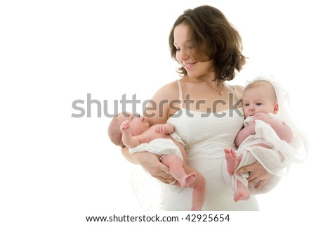 Picture of happy mother with two baby, girl and boy - stock photo
