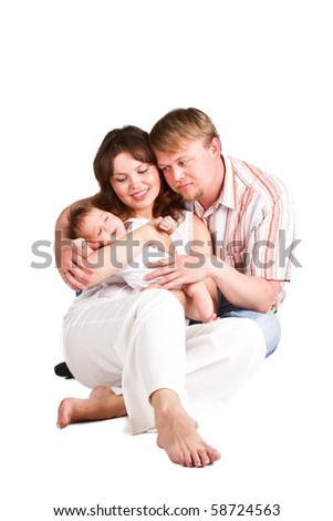 Picture of happy parents holding their child - stock photo