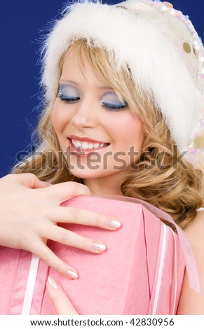 picture of happy santa helper with gift box