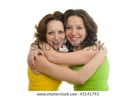 Picture of happy two sisters In colorful clothes, isolated on white background