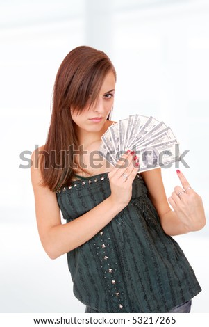 picture of happy woman with money over abstract background