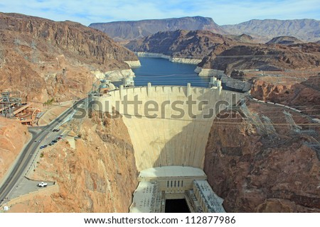 Picture of Hoover Dam made from Pat Tillman Memorial Bridge - stock photo