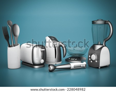picture of household appliances on a blue background - stock photo