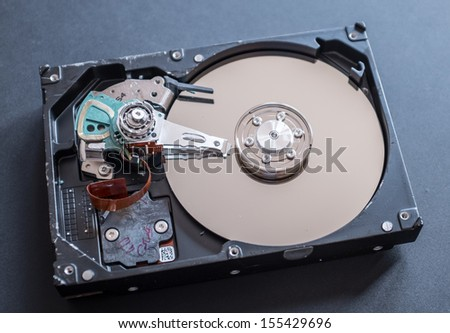 Picture of inside a Computer Hard Disk Drive - stock photo