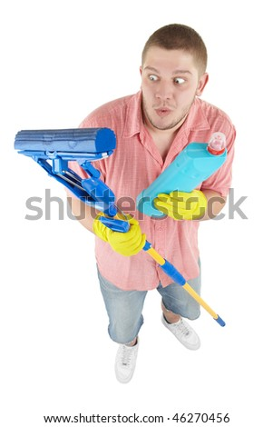 Picture of joyful cleaner. Isolated over white. - stock photo