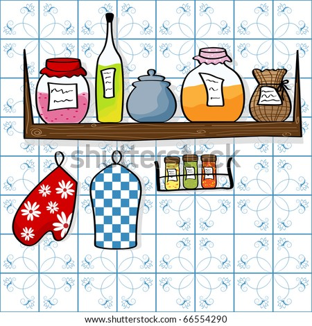 Picture of kitchen shelf with bottles and jam jars - stock photo