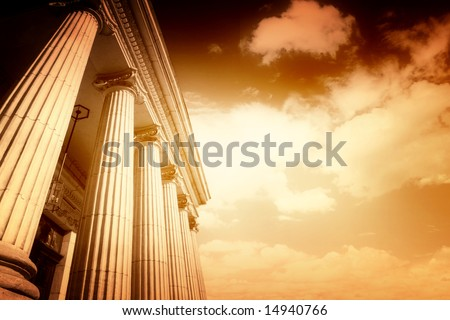 Picture of large greek freestone columns . - stock photo
