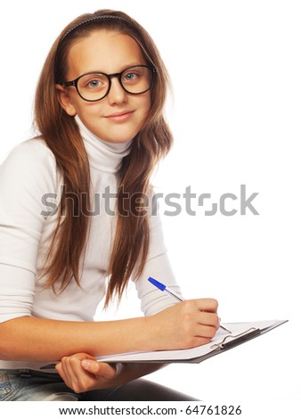 picture of learning  school girl - stock photo