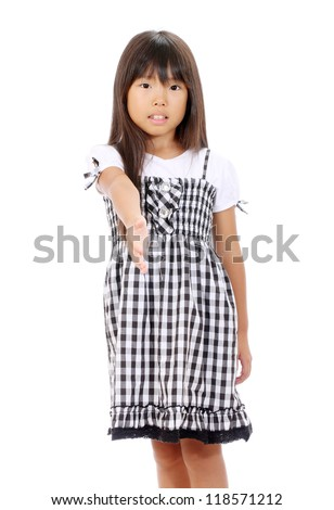 Picture of little asian girl offering handshake over white background - stock photo