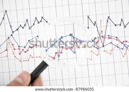 Picture of looking on graph by magnifier