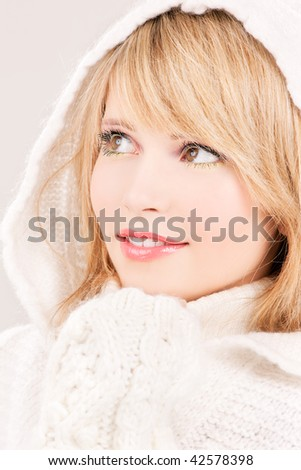picture of lovely teenage girl in hoodie - stock photo