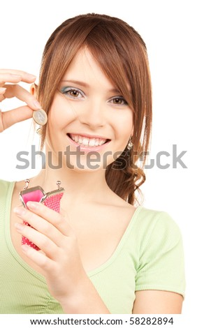 picture of lovely teenage girl with purse and money - stock photo
