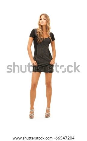 picture of lovely woman in dress over white - stock photo