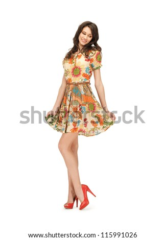 picture of lovely woman in elegant dress - stock photo