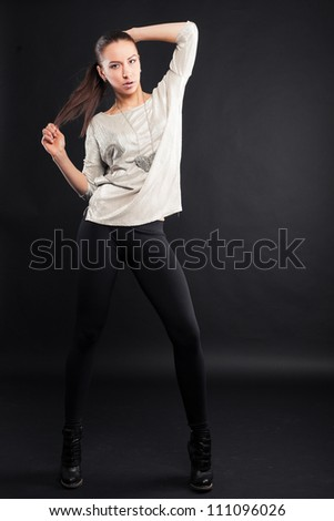 picture of lovely woman on black background