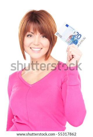 picture of lovely woman with cash money - stock photo