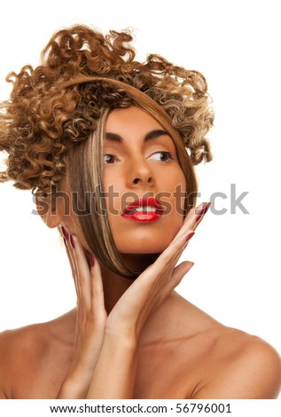 picture of lovely woman with fashionable hair over white