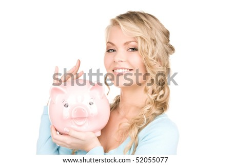 picture of lovely woman with piggy bank - stock photo