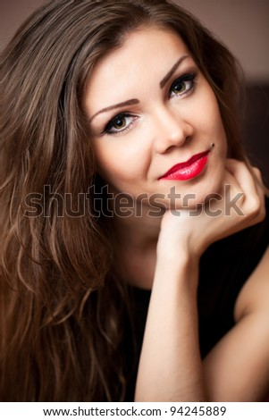 picture of lovely woman with pillow in bed - stock photo
