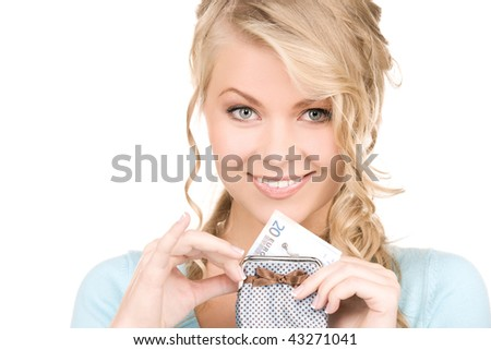 picture of lovely woman with purse and money