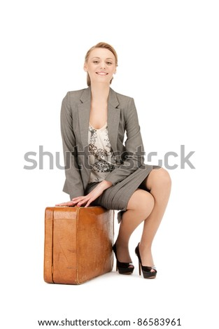 picture of lovely woman with suitcase
