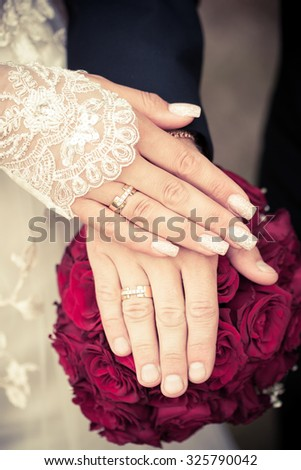 picture of man and woman with wedding ring - stock photo