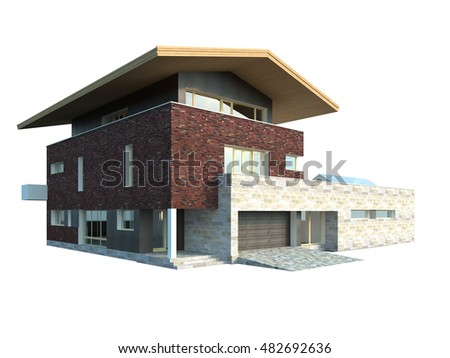 Picture of modern architecture, isolated building, 3D rendering