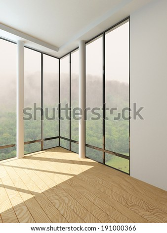 Picture of modern empty room with floor to ceiling window