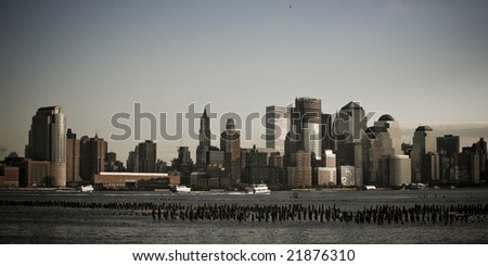 picture of New York city from Hoboken - stock photo