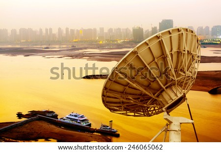picture of parabolic satellite dish space technology receivers - stock photo