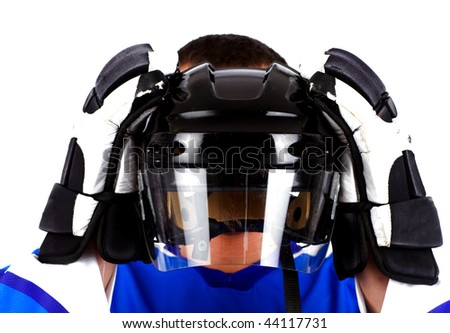 Picture of player hiding behind helmet