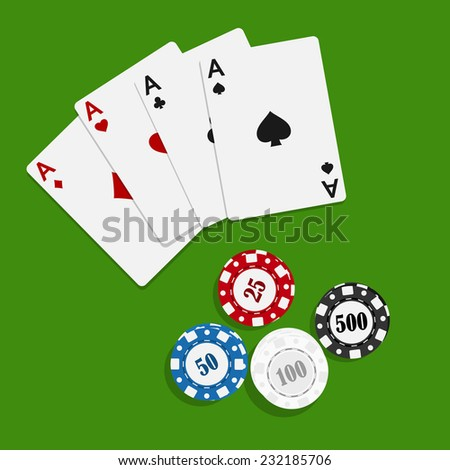 picture of playing cards and poker chips on green table, flat style illustration