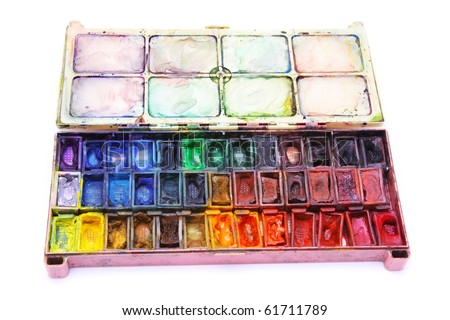 Picture of professional aquarelle paintbox over white
