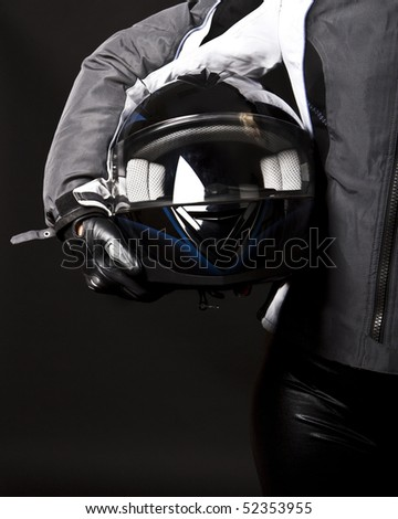 Picture of racing helmet in hands