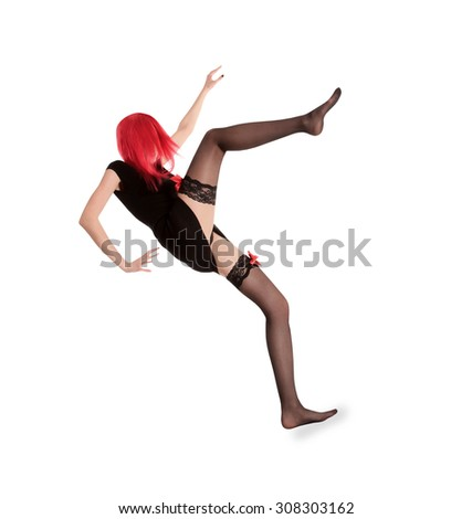 picture of red hair woman in black stockings posing