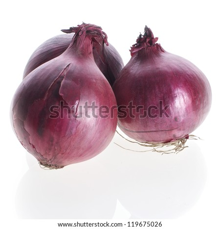 Picture of red onions on a white, isolated background - stock photo