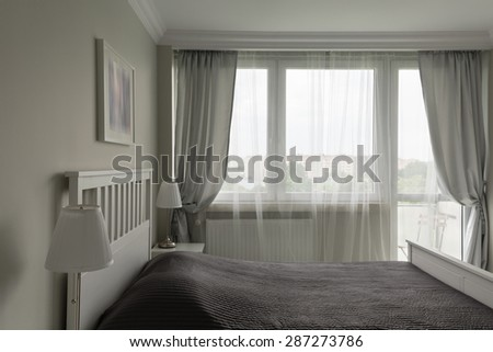 Picture Of Romantic White And Gray Bedroom