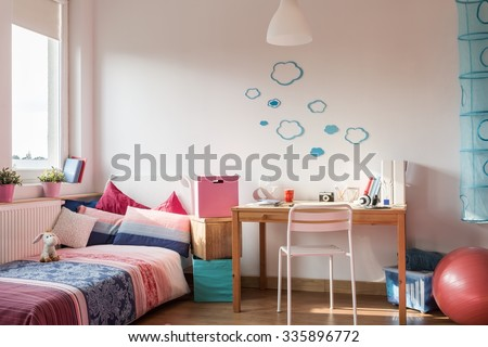 Picture of rose details in girl's room - stock photo