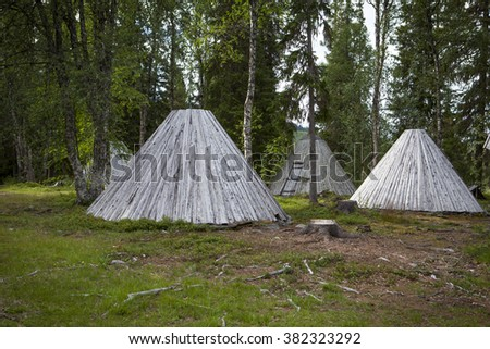 Picture of Sami buildings in Sapmi, Swedish Lapland - stock photo