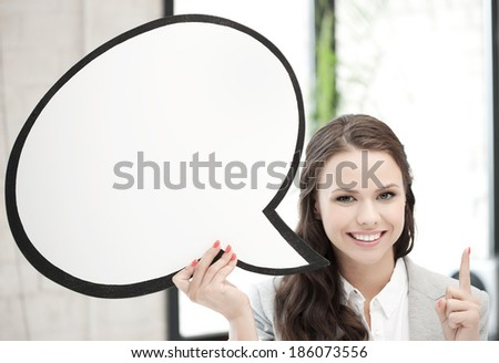 picture of smiling businesswoman with blank text bubble