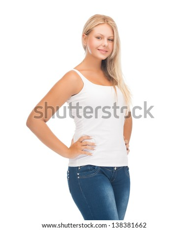 picture of smiling teenager girl in blank white t-shirt - stock photo