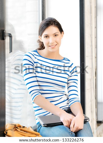 picture of student girl with laptop computer - stock photo