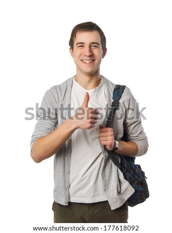 picture of student with backpack on white - stock photo