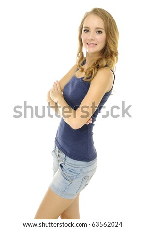 picture of Stylish woman in blue jeans