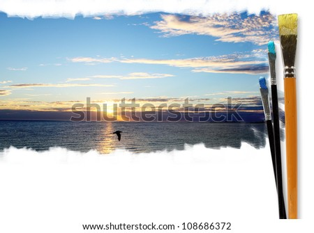 Picture of sunny sea landscape and brushes - stock photo