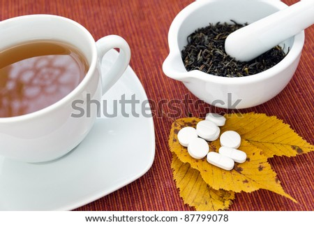 Picture of tea, herbs in mortar and pills for cold.